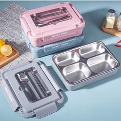 Wysokiej jakości Protable 304 ze stali nierdzewnej termiczne pudełko na Lunch kuchenka mikrofalowa pojemnik Bento es dzieci Student pojemnik Bento zestaw obiadowy