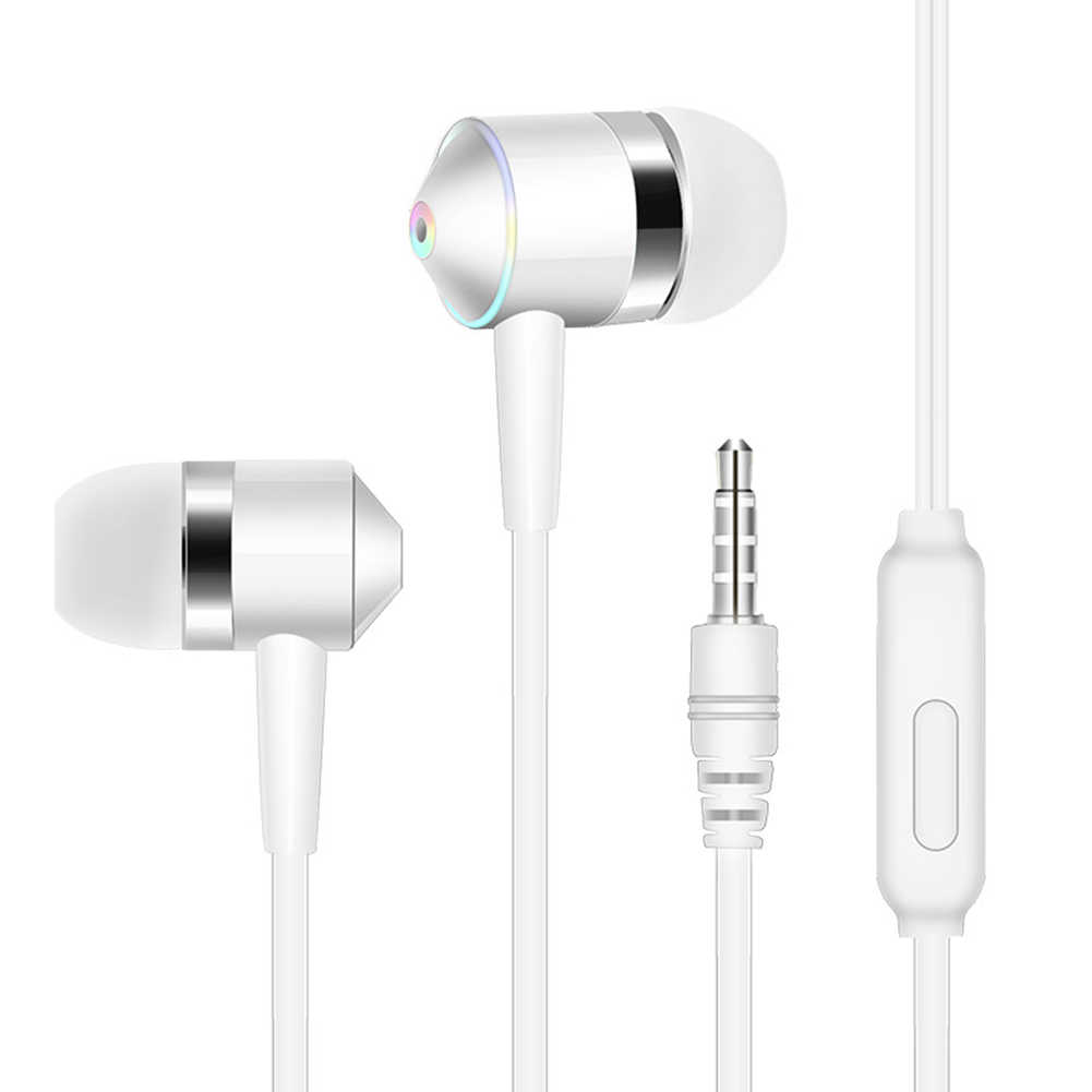 Suara Bass Earphone 3.5 Mm Isolasi Kebisingan dengan MIC Bass Logam Sport Headset Headphone untuk iPhone/Android Ponsel MP3 PC Laptop
