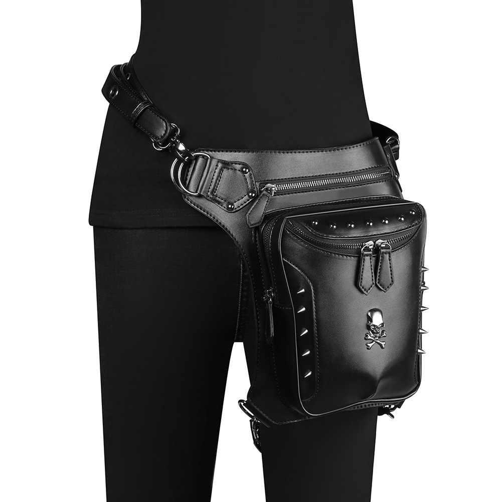 Fklee Ladys Rock Style Vintage Waist Leg Bag and Mask Set Steampunk School Girls Cosplay Costumes Phone Purse Handbag