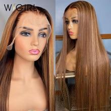 Wigirl 30 polegada 13x4 ombre frente do laço peruca de cabelo humano pré arrancado brasileiro colorido frontal reta destaque peruca para preto