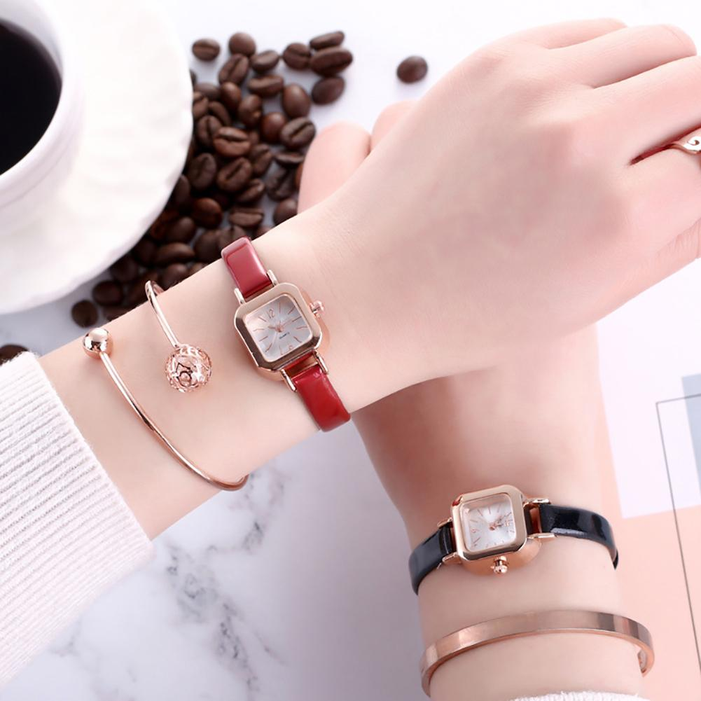 Mori Girl Vintage Simple Square Dial Women Quartz Clock Solid Color Faux Leather Thin Band Belt Strap Wrist Watch Ladies Dress W