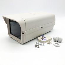 Owlcat Grigio Bianco Macchina Fotografica del CCTV Box di Vetro Trasparente Cassa della Macchina Fotografica di Sorveglianza di Sicurezza Camera Housing Allaperto Borsette In Alluminio ABS Della Copertura