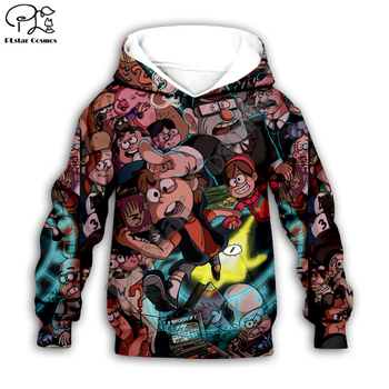цена на Gravity Falls Funny Cartoon  3d Hoodies Children zipper  Long Sleeve Pullover Cartoon Sweatshirt/family style-6