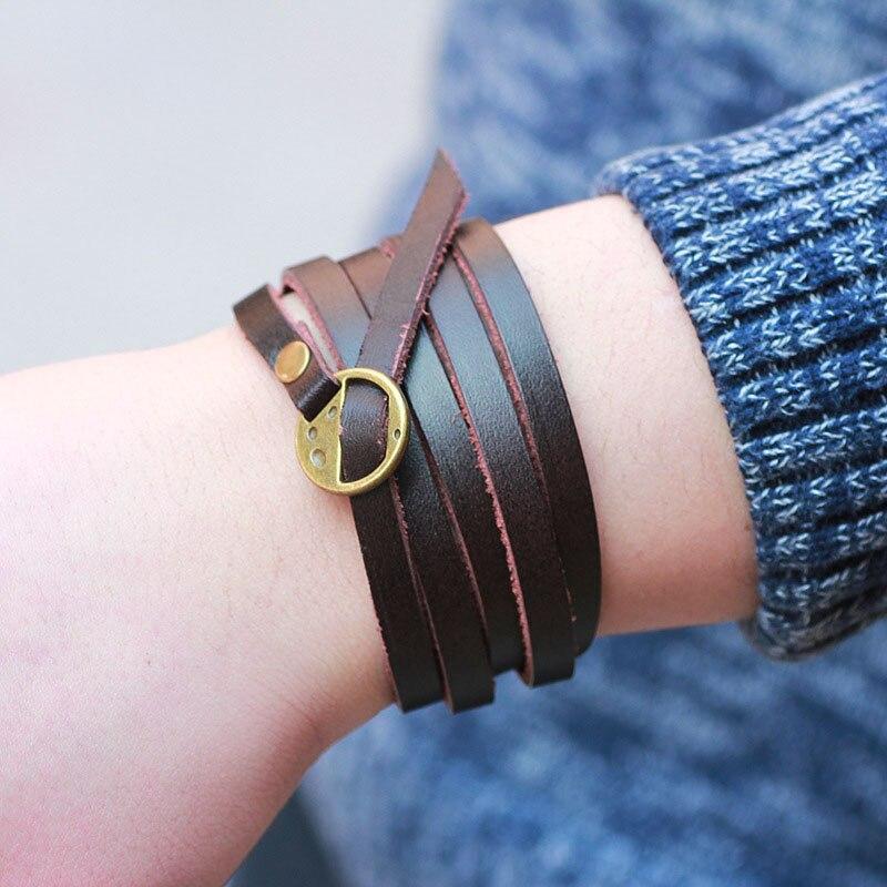 Kirykle-bracelet en cuir véritable, bijoux, style bohémien, multicouches, gaufrage de lettres, pour hommes et femmes 3