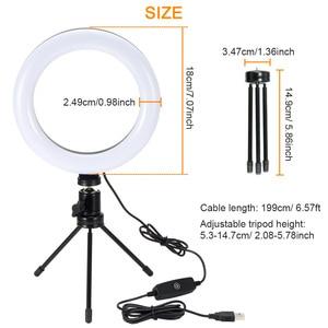 Image 4 - Aro de luz de led para fotografia, disco de luz de led para fotografia, 26cm, ajustável, suporte para telefone, lâmpada para maquiagem, gravação de vídeos estúdio ao vivo