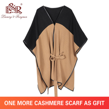 2019 New Design Waistban Dess Winter Poncho for Women Ladies Cashmere Wool Ponchos Leather Hem Shawl Knitted Scarf