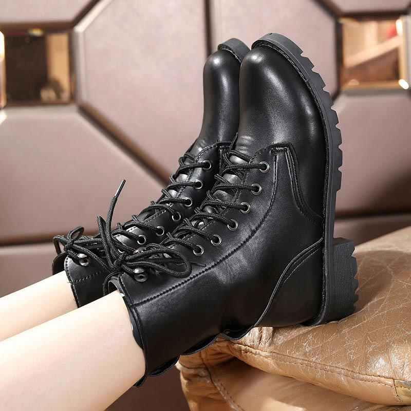 Pu deri platform yarım çizmeler kadınlar 2019 siyah kadın kış kar botları kış dantel-up moda perçinler tekneler kadın ayakkabı