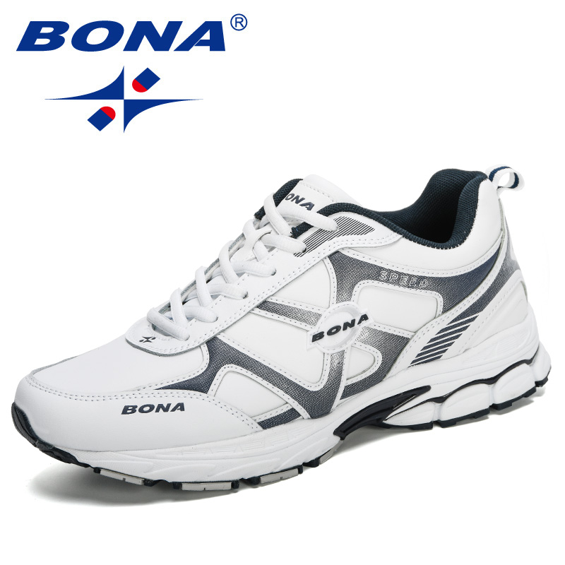 BONA 2020 New Designers Action Leather Sneakers Men Running Shoes Man Outdoor Sport Shoes Male Comfortable Trainers Footwear Man
