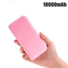 цена на Portable Ultra-thin Polymer 10000mAh Power Bank Poverbank Dual USB Ports External Battery Charger for Xiaomi Iphone Powered