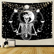 Mandala Skull Moon Wall Hanging Tapestry Boho Hippie Psychedelic Wall Cloth Carpet Yoga Mat Tapestry Wall Hanging Home Decor cityscape printed mandala tapestry wall hanging home bed decor hippie polyester letter motto tapestry beach throw towel yoga mat