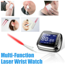 Home Laser Glucose Wrist Device Helpful for Diabetes Pain Relief Cold Laser Blood Pressure Balance Watch cold laser watch with digital blood glucose monitor for hypertension diabetes and tinnitus ce approved
