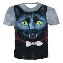Nova camiseta masculina respirvel de alta qualidade feminina manga curta gato impresso 3d moda legal