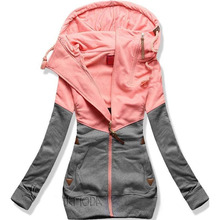Hoodies Women 2019 Autumn Winter Plus Size5XL Patchwork Long Sleeve Pocket Pullover Sweatshirts Female Warm Hooded Streetwear