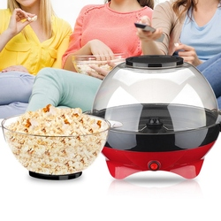 Mini Red Small Round Machine Home Children Automatic Popcorn Machine Electric Non-Commercial Can Be Added with Sugar EU Plug
