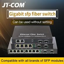 10-портовый гигабитный коммутатор SFP Медиаконвертер 1000M 2 оптоволоконных порта SFP и 2/4/8 сетевых портов RJ45 Волоконно-оптические коммутаторы SFP включают оптоволоконные модули SFP