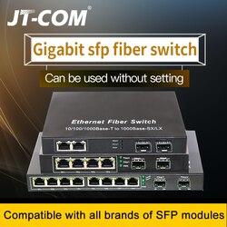 Switch SFP de rede Gigabit de 10 portas 1000M conversor de mídia 2 portas de fibra SFP e 2/4/8 portas de rede rj45 Interruptor de fibra SFP Inclui módulos de fibra óptica SFP