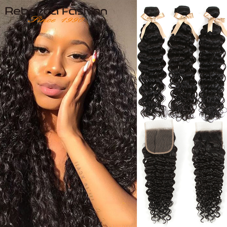 Rebecca Remy Water Wave Brazilian Human Hair 3 Bundles With Closure 4x4 Brazilian Water Wave With Lace Closure
