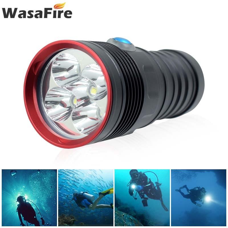 Potente linterna de buceo de 10000 lúmenes XM-L2 LED impermeable 18650 linterna de Flash de buceo 100m linterna de buceo submarina Linterna de luz de emergencia recargable multifunción LED 30/60/90 Mini 30 lámpara de luz LED de emergencia para campamento en casa al aire libre