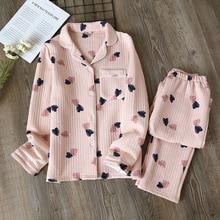 Spring/autumn Pajamas Set Women Thick Pure Cotton Long Sleeve Ladies Sleepwear Loose Comfy Warm Autumn Winter Cotton Home Suit