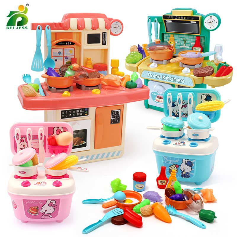 23-26Pcs Kitchen Toy Miniature Mini Plastic Food Girl Kids Cutting Vegetables Fruits Cooking House Set Toy For Children Gift
