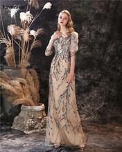 Favordear сексуальное вечернее платье с блестками в стиле русалки Vestido De Noite, кружевное вечернее платье с рукавами три четверти
