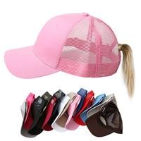 Las mujeres de cola de caballo de gorra de béisbol de las mujeres gorra de malla de verano sombrero de moda femenina gorros de HIp Hop Casual ajustable al aire libre hueso