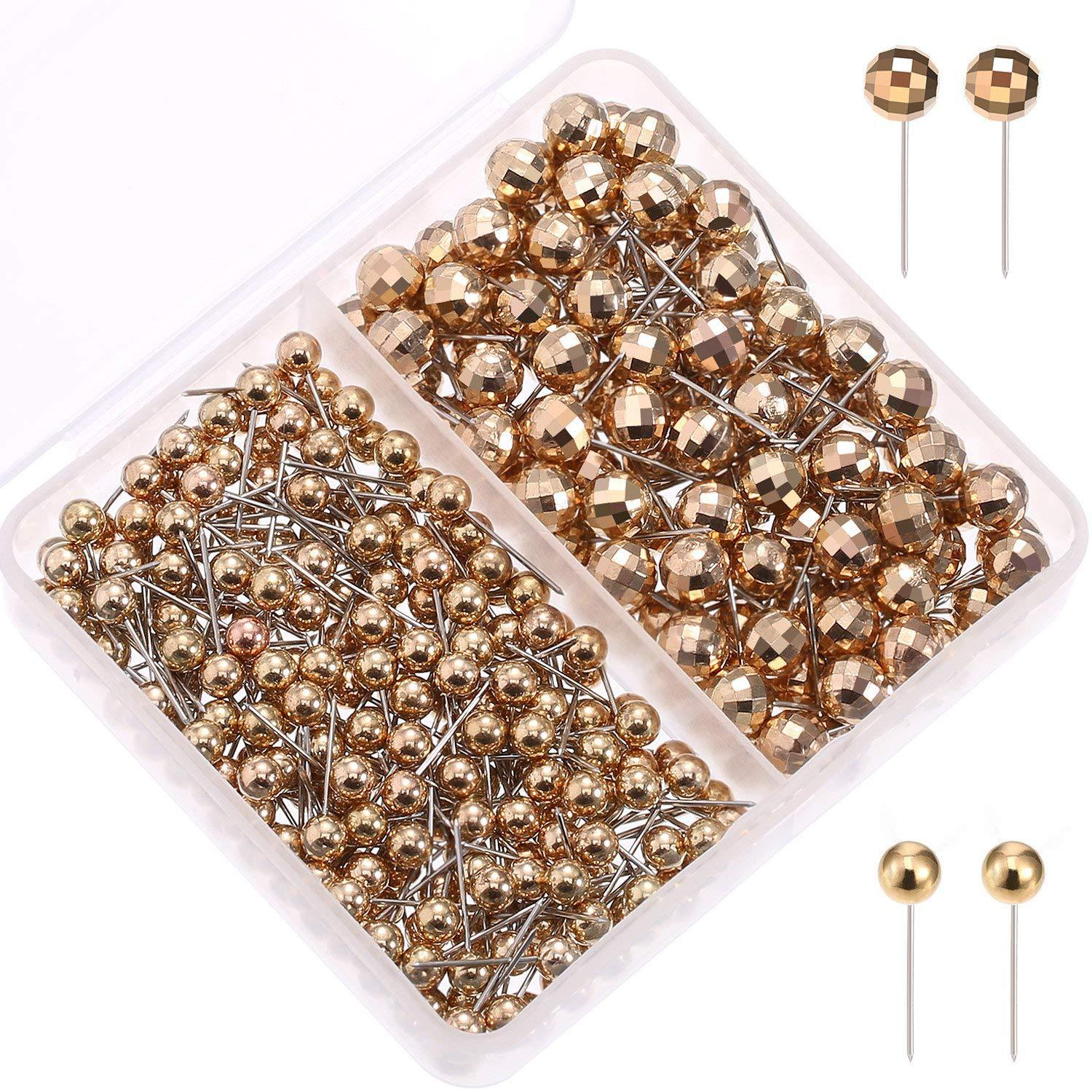 Manufacturers Direct Selling Shiny Football Surface Gold And Silver Plastic Pin Round Ball Needle Office Fixed Cross Border Ther