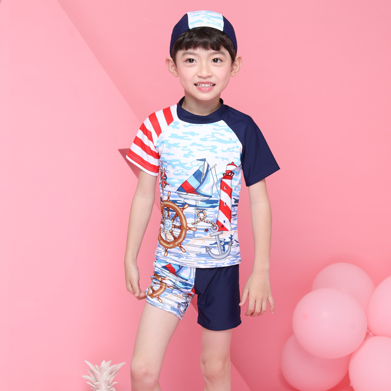 South Korea KID'S Swimwear Trend Handsome Cartoon Pirate Ship Children Split Type Two-Piece Set Short Sleeve Shorts Swimwear