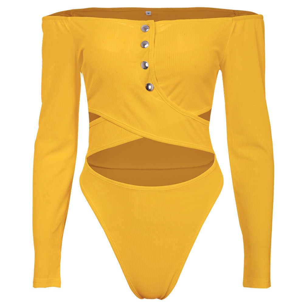 2020 Baru Musim Semi Musim Panas Slash Leher Lengan Panjang Seksi Hollow Out Skinny Bodysuit Melihat Melalui Warna Solid Satu Potong Pakaian GL5884