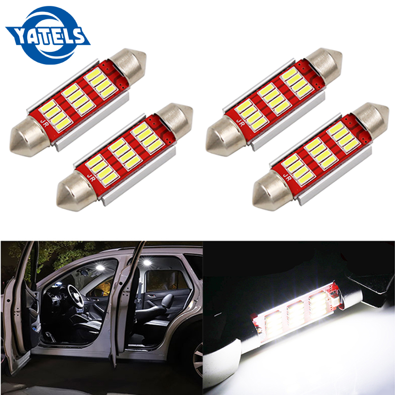 4 PCS Car Decoding Reading Light 31mm / 36mm / 39mm / 41mm 12Smd Double Point LED Dome Light Ambient Light Auto Parts