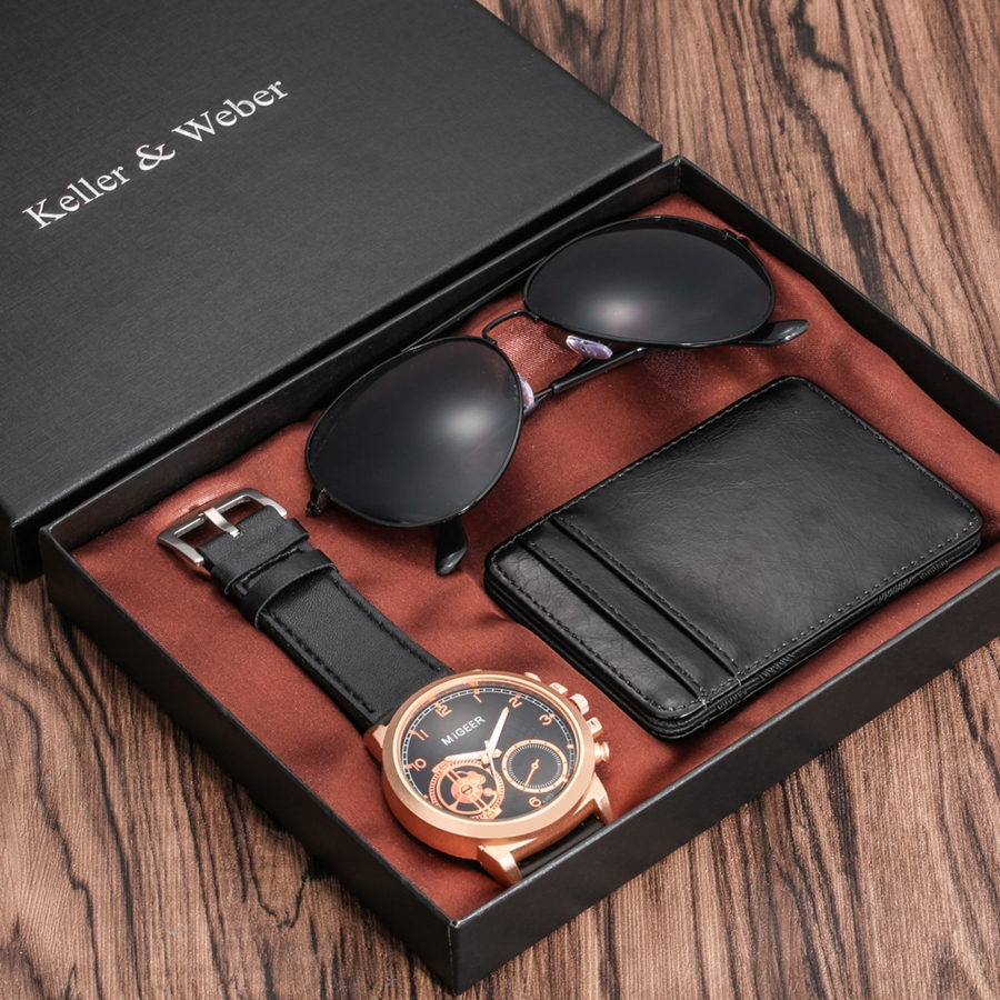 Luxury Rose Gold Men's Watch Business Leather Wallet Fashion Sunglasses Sets for Men Unique Souvenir Gifts for Boyfriend Husband 2020 2021 SKMEI WATCHES (4)