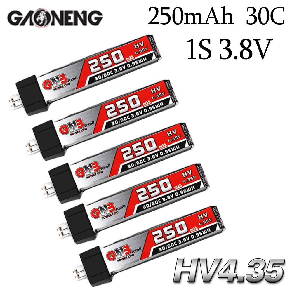5 шт. GAONENG GNB 1S 250mAh 3,8 V HV 4,35 V 30C/60C Lipo батарея для QX65 Blade Nano QX CPX MSR индуктрикс FPV Tiny7 Beta65S Дрон