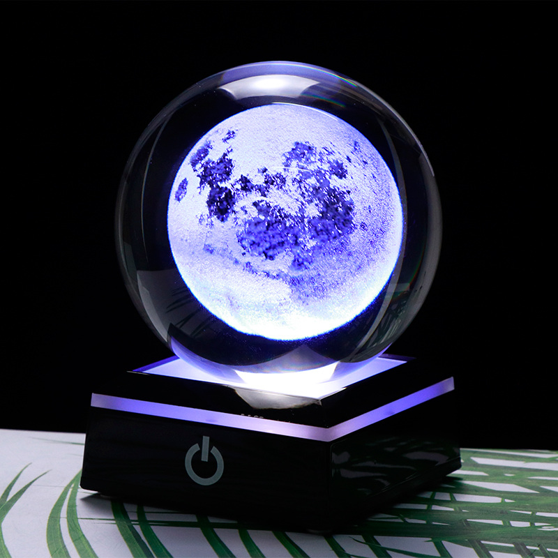 3D Moon Crystal Ball LED Base Laser Engraved Glass Globe Home Decoration Crystal Craft Sphere Ornament 8cm
