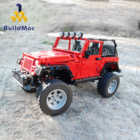 BuildMoc Mechanical Pull Back Jeeped Off road Vehicle Building Blocks For City Technic Car Bricks Toys For Boys
