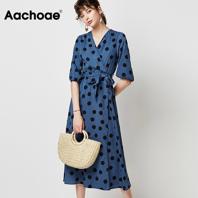 2020 Elegant Polka Dot Long Women Dress Autumn Lantern Half Sleeve Casual Sashes Dress Sexy V Neck Vintage Midi Party Dresses