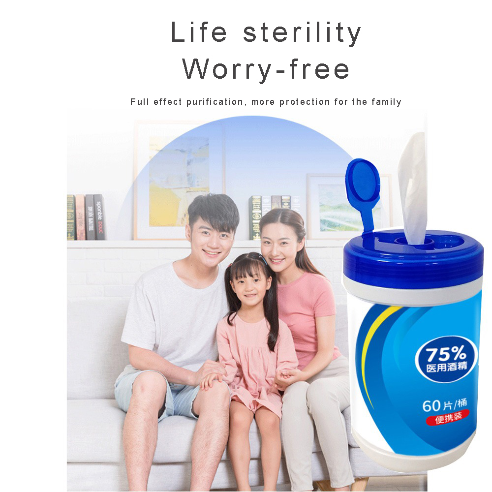 Disposable Sterile Cotton Pads First Aid 60 Tablets 75% Alcohol-containing Sterile Wipes Cleaning Washing Protect Your Health(China)