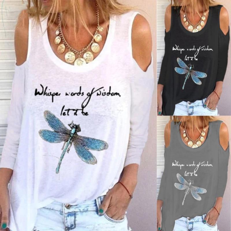 Fashion Print Tee women dragonfly Long sleeves T-shirt 2021 New Fall Oversize T-shirt Fashionable Street Women's white black Top