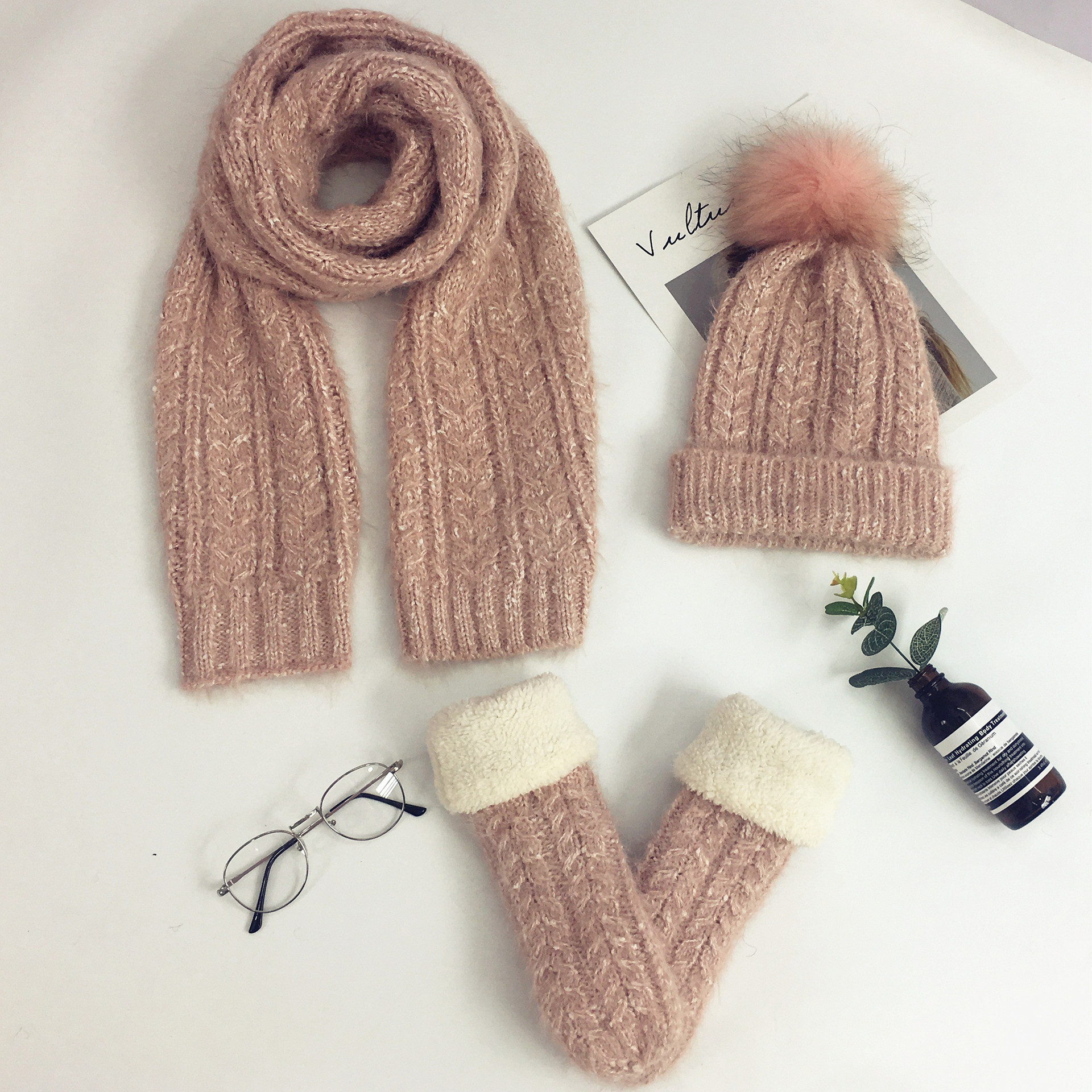 Mooirue Women Winter Wool Hairball Velvet Gloves Scarf Hat Sets Vintage Casual Streetwear Korean Style Thick Warm Suit Scarf Hat