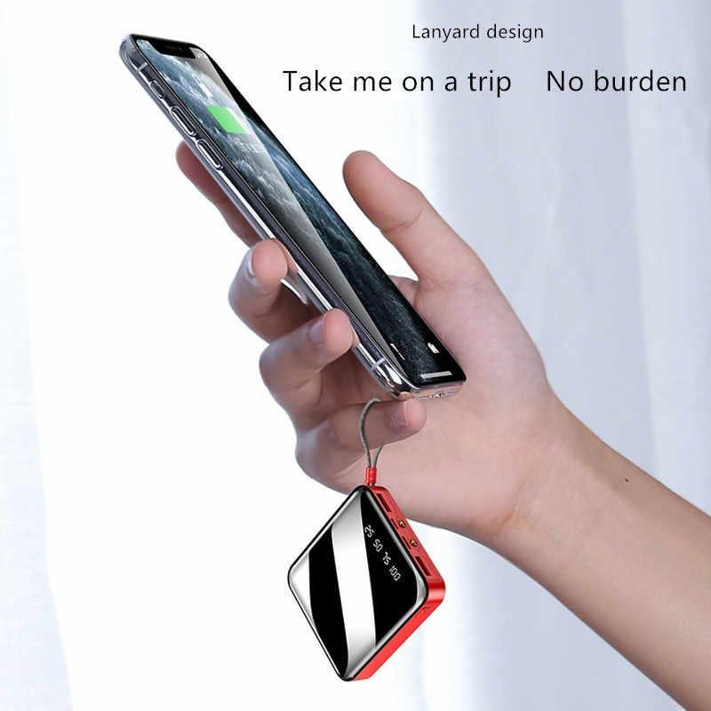 30000 5200mah パワーバンクミニミラースクリーン携帯電話の充電器液晶デジタルディスプレイデュアル led 照明 usb powerbank スマートフォン