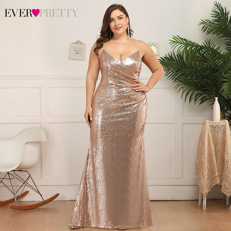 Plus Size Evening Dresses Ever Pretty Ruched Sequined V-Neck Spaghetti Straps Sparkle Evening Gowns For Party Robe De Soiree