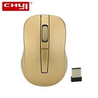 CHYI 2.4G 무선 미니 마우스 컴퓨터 광학 마우스 1000/1200/1600 인치 당 점 3D 골드 USB Mause 선물 노트북 pc에 대 한
