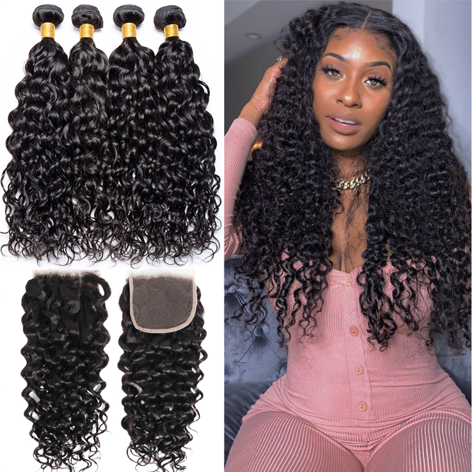 Jaycee Tissage Water Wave Bundles With Closure Remy Brazilian Hair Weave 3 Bundles Wet Wavy Hair Bundles With Closure Deepwave