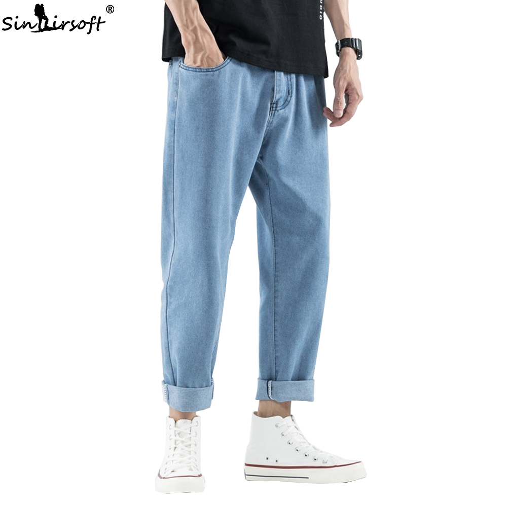 2019 New Korean Bag Jogging Street Sports Mens Jeans For Hombre Men's Blue Nine Pants Casual Cotton Soft Large Size Jeans Men