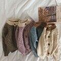 Корейский стиль детская одежда детский вязаный свитер пальто для мальчиков и девочек однотонный кардиган свитер ручной работы детская оде...