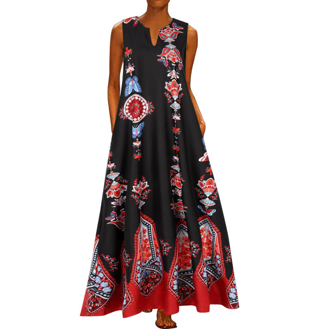2020 Floral Print Boho Casual Long V-neck Off Shoulder  Maxi Dress  6