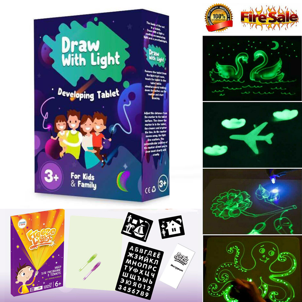 2019 HOT Fluorescent Drawing Board Draw With Light Fun And Developing Toy Educational Magic Draw Gift Kids New Whiteboard