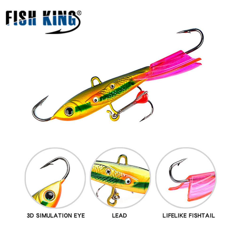 FISH KING 6.3cm/10g 8.5cm/20g Winter Fishing Lure Ice Fishing Jig Bait Balancer Carp Fishing hooks Lead Hard Lure Pesca Tackle
