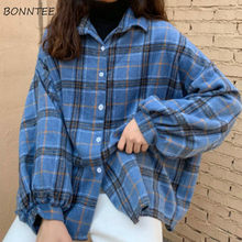 Jassen Vrouwen Plaid Batwing Mouw Zip-Up Grote Size Bf Harajuku Vintage Chic Studenten Alle-Match Populaire Lente losse Jassen Zachte(China)