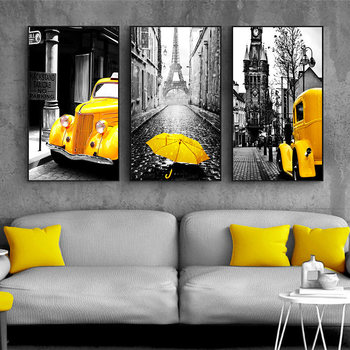 Nordic Canvas Painting Retro European City Scenery Picture Home Decor Wall Art Yellow Car Balloon Posters and Prints for Bedroom image