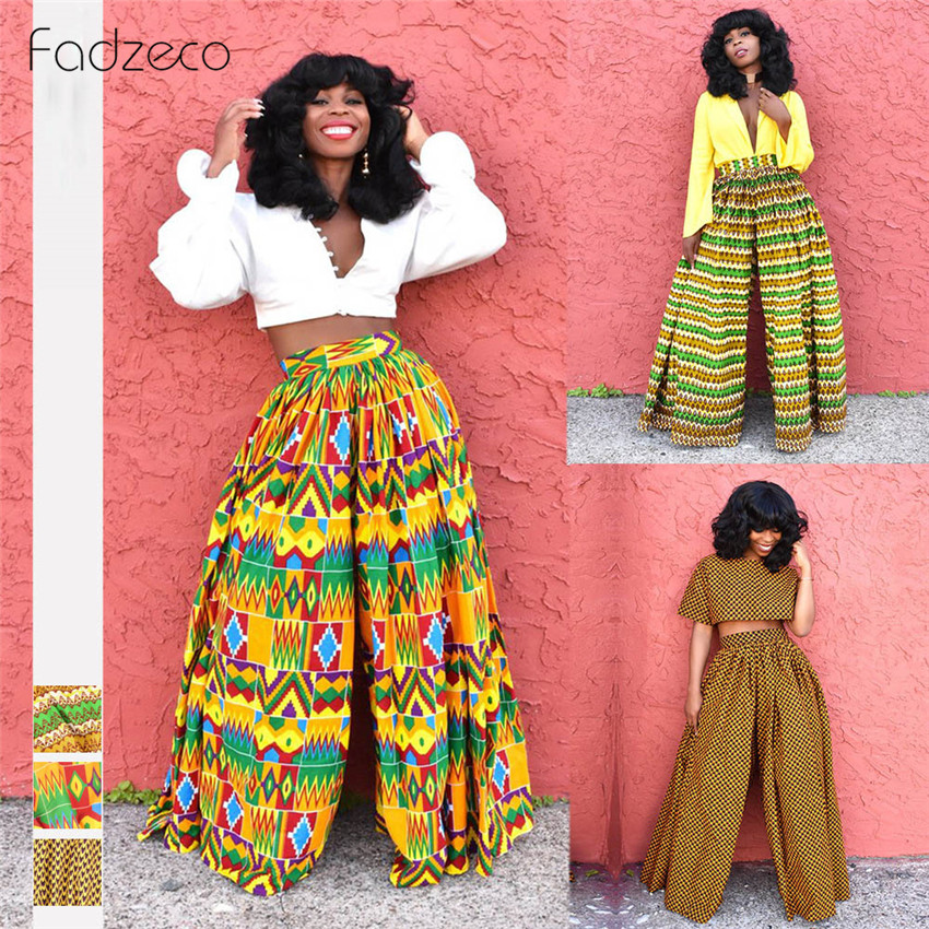 Fadzeco African 2019 New Ladies Clothes Dashiki Print Trousers Wide Legs Pants Female High Waist Pants African Dresses For Women